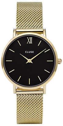 Cluse Minuit CL30012 Goldtone Mesh Bracelet Analog Watch