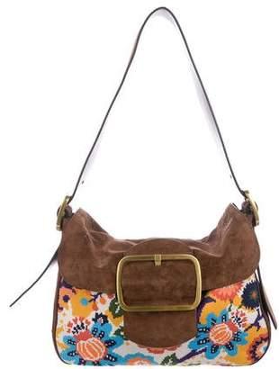 Tory Burch Suede & Needlepoint Shoulder Bag