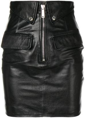 DSQUARED2 flap detail leather skirt