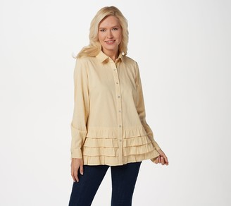 Logo By Lori Goldstein LOGO by Lori Goldstein Textured Button-Front Ruffle Blouse