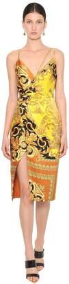 Versace PRINTED SILK SATIN WRAP DRESS
