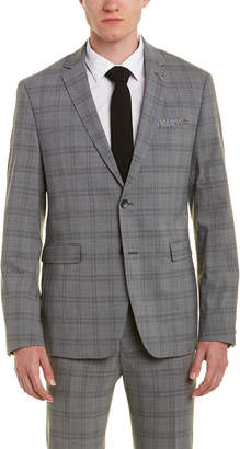 Original Penguin Skinny Fit Wool-Blend Suit With Flat Front Pant