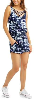 Eye Candy Juniors' Spaghetti Strap Romper with Smocked Elastic Waist & Tie