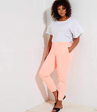 LOFT Plus Neon Cuffed Girlfriend Chinos