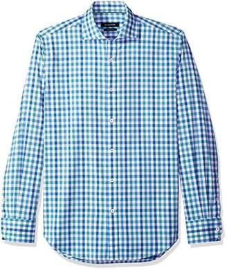 Bugatchi Men's Slim Fit Spread Collar Glen Plaid Cotton Shirt