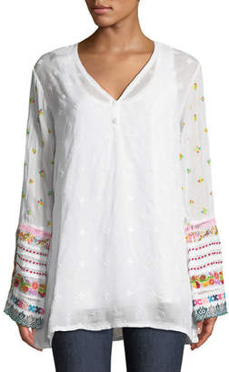 Johnny Was Embroidered-Trim Long-Sleeve Tunic, Plus Size