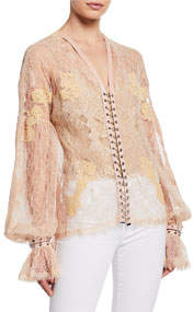 Chain Eyelet Lace Long-Sleeve Blouse