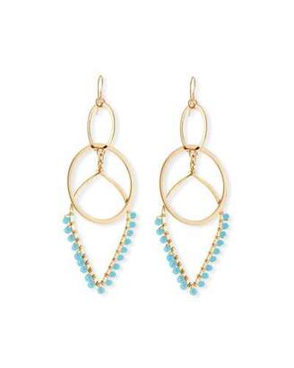 Devon Leigh Double-Link Teardrop Earrings w/ Beads, Blue