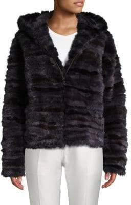 Blue Duck Mink Fur Sections Hooded Jacket