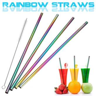 Generic 8Pcs Stainless Steel Drink Straws + Cleaning Brush Kit Set Straight / Bent Drinking Metal Straw Washable Reusable NON-TOXIC Rainbow Color For Tumblers Coffee Juice Cold Beverage