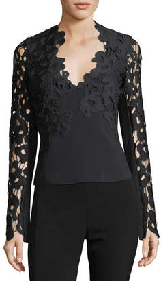 David Koma Cut Lace-Trim Long-Sleeve Top