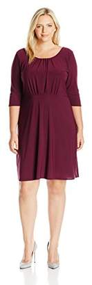Star Vixen Women's Plus Size Elbow Sleeve Ity Knit Short Skater Waist-Seam Dress with Scoop Neckline andX Crossback Detail