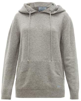 Prada Logo Embroidered Cashmere Hooded Sweater - Womens - Grey