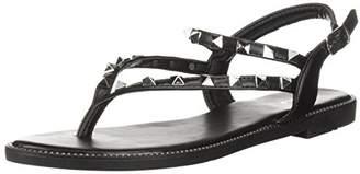 Qupid Women's Thong Studs Flat Sandal