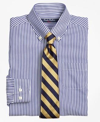 Brooks Brothers Non-Iron Supima Cotton Broadcloth Bengal Stripe Dress Shirt