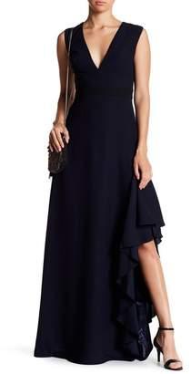 ML Monique Lhuillier Deep V-Neck Asymmetrical Gown