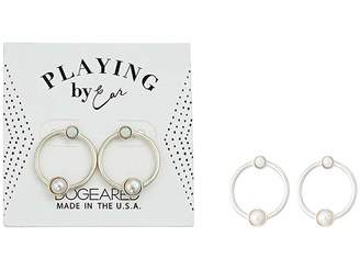 Dogeared Playing By Ear, Two Hole Lip Card, Ring with Pearl and Opal Essence Bezeled Earrings
