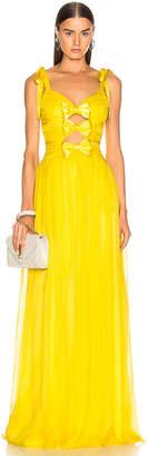 Rasario Triple Bow Gown in Yellow   FWRD