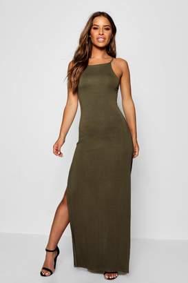 boohoo Petite Lana Column Style Square Neck Maxi Dress