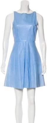 Alice + Olivia Leather Flared Mini Dress