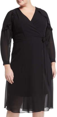 Rachel Roy Plus Ruffle-Sleeve Chiffon Wrap Dress, Plus Size
