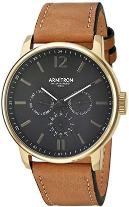 Armitron Men's 20/5217BKGPTN Multi-Function Dial Tan Leather Strap Watch
