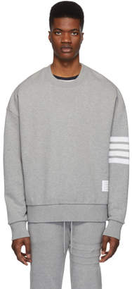 Thom Browne Grey 4-Bar Oversized Classic Sweatshirt
