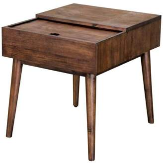 Mid-Century MODERN Generic Rectangular Sliding Top End Table - Dark Wood Finish
