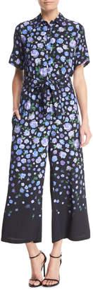 Lela Rose Short-Sleeve Floral-Print Jumpsuit