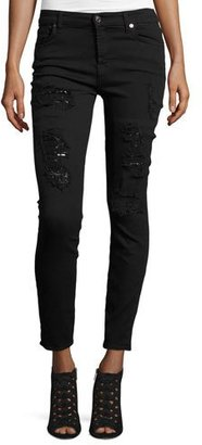 7 For All Mankind The Ankle Skinny Destroyed Jeans w/Sequins, Black Cut Out $229 thestylecure.com