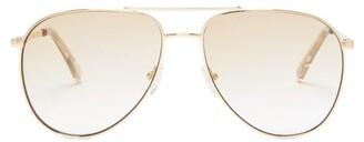 Le Specs Road Trip Aviator Metal Sunglasses - Womens - Gold Multi