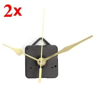 mtqsun AUDEW 2x Long Spindle Shaft Gold Hands DIY Wall Quartz Clock Movement Mechanism Repair No battery