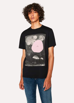 Paul Smith Men's Black Pink 'Spot' Print Organic-Cotton T-Shirt