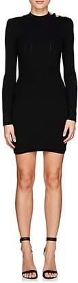 Balmain Women's Rib-Knit Wool-Blend Fitted Dress - Black