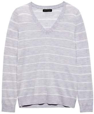 Banana Republic Washable Merino Stripe V-Neck Sweater