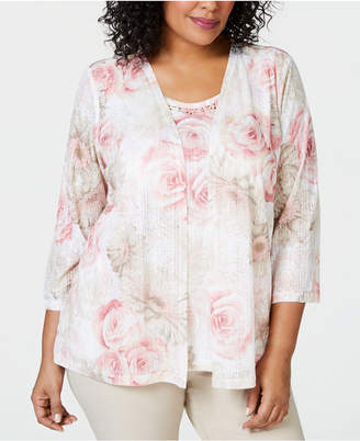 cca31f04d45 Alfred Dunner Plus Size Society Pages Layered-Look Floral Print Top