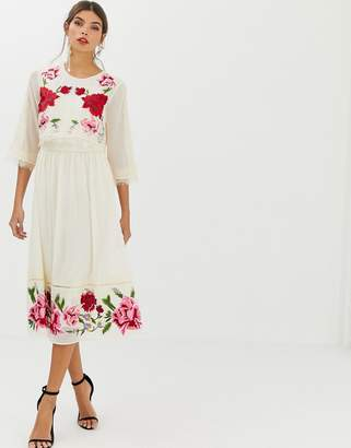 Asos Design DESIGN double layer midi embroidered dress with long sleeves