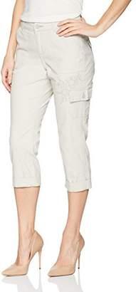 Lee Women's Petite Straight Fit Embroidered Bohemian Cargo Capri Pant