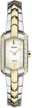 Seiko Women's Tressia Solar Diamond Accent Two-Tone Stainless Steel Bracelet Watch 15mm SUP358 $450 thestylecure.com
