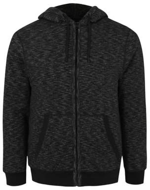 George Charcoal Borg Lined Zip-up Hoodie