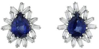 Suzanne Kalan Pear Blue Sapphire Diamond Baguette Stud Earrings - White Gold