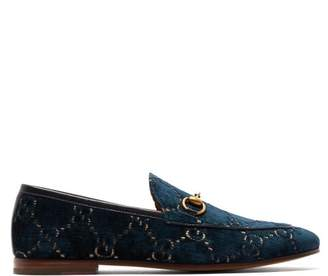 Gucci Jordaan Gg Velvet Loafers - Mens - Blue