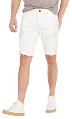 Buffalo David Bitton Parker-X Slim Light Stone Wash Embroidered Denim Shorts