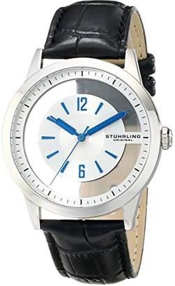 Stuhrling Original Men's 946.01 Winchester Transparent-Dial Black Genuine Leather Strap Watch
