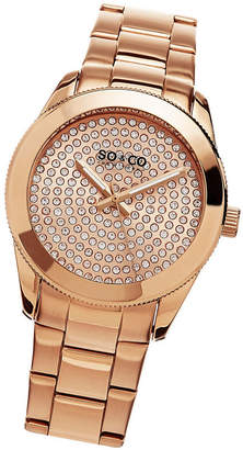 Co SO & Ny Women'S Madison Stainless Steel Bracelet Gold Tone Crystal Filled Dial Dress Quartz Watch J155P49