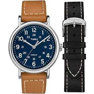 Timex Men's TWG019200 Weekender 40 Tan/Blue Two-Piece Leather Strap Watch Gift Set + Black Leather Strap