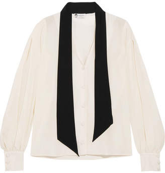 Lanvin - Pussy-bow Two-tone Silk Crepe De Chine Blouse - Ivory $1,095 thestylecure.com