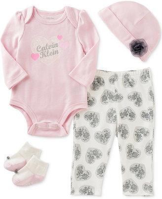 Calvin Klein 4-Pc. Hat, Bodysuit, Pants & Socks Layette Set, Baby Girls (0-24 months) $68 thestylecure.com