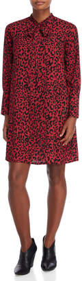 Made In Italy Leopard Print Tie-Neck Shift Dress
