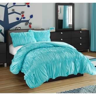 Unbranded Ruched Aqua Comforter Set